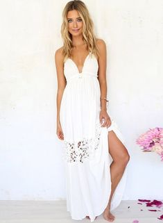 Women's Halter Backless Sleeveless Solid Lace Dress