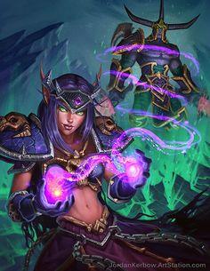 World of Warcraft blood elf demonology warlock fan art illustration