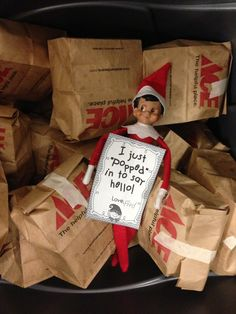 Elf on the shelf classroom ideas. So fun!  Have the kids write about it every day.