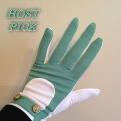 "HP 2/13 Vintage Go Go gloves Vintage dead stock 60""s gloves. Gloves are made of a sheer material, color is sage green and white with nautical style buttons with anchors. The brand is ""Go-Go"" Gloves still has tag and gloves are attached to each other. Size on tag says 6-6 1/2. total length of gloves are 8"", middle finger measures 3 3/4"" in length, width of palm is 2 7/8"" they do stretch. Vintage Accessories Gloves & Mittens"