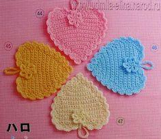 Hobby lavori femminili - ricamo - uncinetto - maglia: presine a forma di cuore