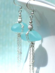 Tethered Seaglass Earrings by AmbJewelry on Etsy, $45.00