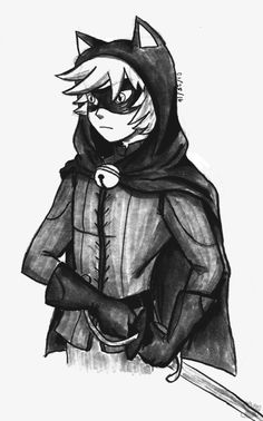 qookyquiche: So I fell in love with @piku-chan's wonderful ML Cinderella AU and decided to try drawing Adrien in his Chat Noir disguise :3 It's black and white Wow i really should be studying omg (second week about to start xD) ahhhh nice!! he looks good in black and white :D