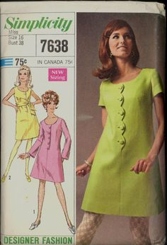 Unc 60s Size 16 Bust 38 Designer Fashion by VintagePatternsCo1