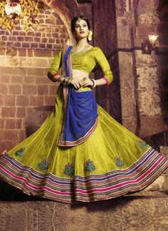 Stylish Lemon Green And Blue Net Embroidery Work A Line  Lehenga Choli http://www.angelnx.com/Lehenga-Choli/Designer-Lehenga-Choli