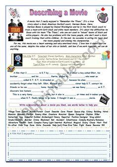 Describe a Movie - ESL worksheet by Zora English Games, English Writing, English Class, English Lessons, Teaching English, Learn English, English Vocabulary, English Grammar, Describe A Movie