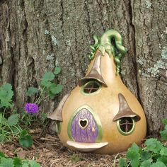 RESERVED Fairy Tale Fairy Door Gourd by EnchantedPumpkinArt, $40.00