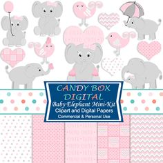 Baby Elephant Clipart, Baby Elephant Clip Art, Baby Digital Paper, Baby Girl Clip Art, Baby Clip Art, Baby Shower - Commercial OK by CandyBoxDigital on Etsy https://www.etsy.com/listing/175207409/baby-elephant-clipart-baby-elephant-clip