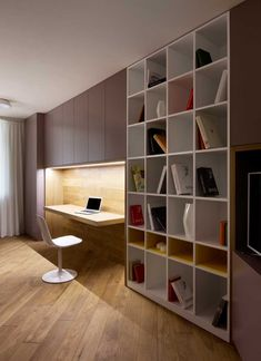 Armário e estante Simple bookshelf. Ambient lighting. Wooden flooring. Exquisite setup.