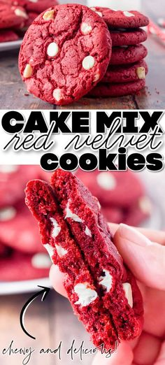 BEST RED VELVET CAKE MIX COOKIES Crinkle Cookies Cake Mix, White Cake Mix Cookies, Cake Batter Cookies, Red Velvet Cookies, Cake Mix Cookie Recipes, Sprinkle Cookies, Cupcakes, Best Cookie Recipes, Cookies And Cream
