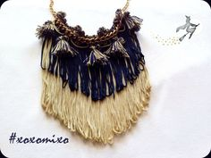 """Gemini"", Boho fringe statement necklace"