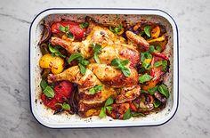 Jamie Oliver's 5 ingredient harissa chicken traybake Jamie Oliver 5 ingredients quick and easy recipes harissa chicken traybake Tray Bake Recipes, Cooking Recipes, Easy Recipes, Chicken Meal Prep, Chicken Recipes, Keto Chicken, Healthy Chicken, Healthy Food, Jamie Oliver 5 Ingredients