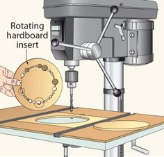 To reduce tear-out at the bottom of holes drilled at my drill press, Add a sacrificial insert to the drill-press table. By making the insert circular and offset from the bit, rotating the insert whenever one spot becomes too worn. Woodworking Drill Press, Woodworking Skills, Woodworking Workshop, Woodworking Techniques, Woodworking Tools, Bow Rack, Drill Press Table, Drilling Machine, Wood Magazine