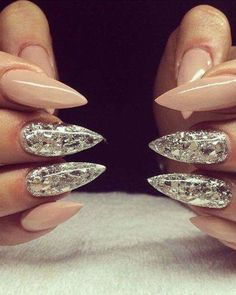 Stiletto Beige Tone Nails with Glam Silver Metallic Mirror Nail Art Highights