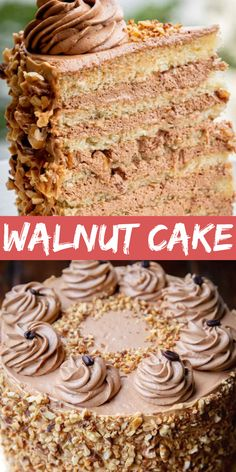 This incredible walnut cake has layered soft, delicious yellow sponge cakes soaked with a flavorful rum syrup for an extra moist dessert. Roasted walnuts add a crunch and taste that works perfectly with rich coffee icing. Cake Recipes From Scratch, Pound Cake Recipes, Best Dessert Recipes, Cupcake Recipes, Sweet Recipes, Delicious Desserts, Cupcake Cakes, Pie Recipes, Poke Cakes