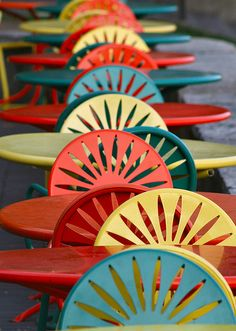 colorful Union Terrace Chairs at UW Madison Memorial Union University Of Wisconsin, Wisconsin Cities, Madison Wisconsin, Wisconsin Badgers, Outdoor Garden Furniture, Photo Location, Lake Michigan, Colour Schemes, Terrace