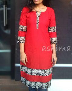 -Linen Cotton Kurta With Block Printed Border- Price Salwar Neck Designs, Churidar Designs, Kurta Neck Design, Dress Neck Designs, Blouse Designs, Kurta Patterns, Dress Patterns, African Fashion Dresses, African Dress