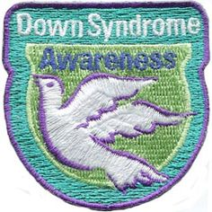 Down, Syndrome, Dove, Aware, Patch, Embroidered Patch, Merit Badge, Badge, Emblem, Iron On, Iron-On, Crest, Lapel Pin, Insignia, Girl Scouts, Boy Scouts, Girl Guides