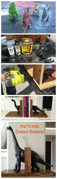 How to make dinosaur bookends @ Pinterest Addict  Great idea and how-to.  Used CeCe Caldwell's Chalk + Clay Paints from VintageBete.com for a 100% Natural, non-toxic version.