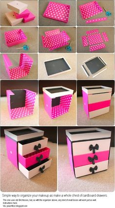 0d7824cae15 Simple way to organize your makeup as make a whole chest of cardboard  drawers This one