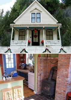 Go Big or Home: Living Small in 11 Tiny Houses with Style   love the stove surrounded by brick