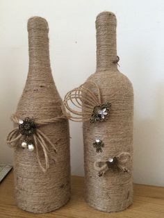Wine bottles and twine
