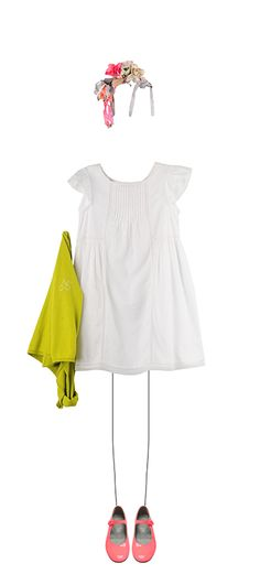 Bonpoint Summer 2015: milk white dress, lime blossom cardigan and fluo pink mary-janes.
