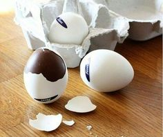 In finland you can get these real egg shells filled with chocolate