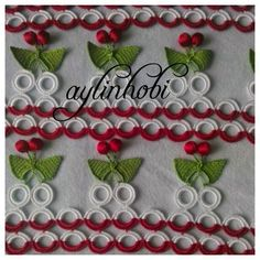 aylinhobi: bir parti daha kirazlı havlu kenanırın sonuna geldik :) Needle Tatting, Knitting, Bandana, Crochet Stitches, Crocheting Patterns, Diy And Crafts, Embellishments, Crochet Squares, Crochet Bags