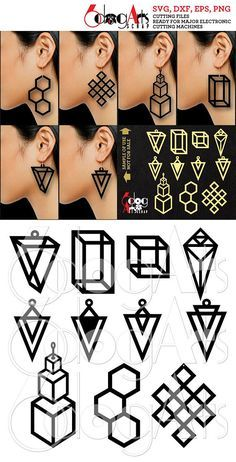 Geometric Wood / Acrylic Earring Pendant Templates Vector Digital SVG DXF Jewelry Cut Files Download Laser Die Cutting Plasma Cricut JB-1095