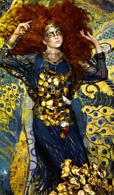 Gustav klimt inspiration.    Title: Pictorial Magazine: Vogue Italia - September 2005.  Model: Lily Cole.  Photographer: Richard Burbridge.