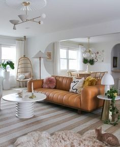 A Guide to Modern Eclectic Style with @britdotdesign | Articulate Tan Sofa, Couch And Loveseat, Blush Pillows, Oak Beds, Memphis Design, High Quality Furniture, Eclectic Style, Living Room Inspiration, Leather Sofa
