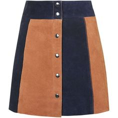 TOPSHOP Striped Suede Skirt ($160) ❤ liked on Polyvore featuring skirts, multi, beige skirt, topshop, high rise skirts, stripe skirt and high waisted skirts