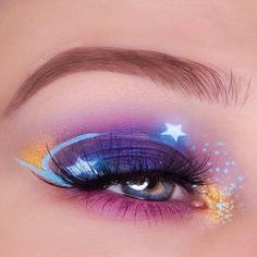 ☄⭐ Starry night  Eye look by @maudzoutenbier feat. BLUE MILK Liquid Liner ☄ #limecrime