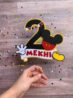 Mickey Mouse inspired cake topper, birthday cake, oh twoodles, smash cake Mickey Mouse Cake Topper, Mickey Mouse Birthday Decorations, Mickey Mouse Crafts, Mickey Cakes, Mickey Birthday, Mickey Party, Birthday Diy, Minnie Mouse, Diy Cake Topper