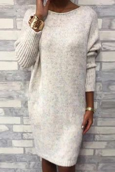 Rotiu Women's Casual Round Neck Loose Knit Dress If you're looking for a bodycon, round neck dress look no further than this! Our feminine dress will add an instant style upgrade to your closet. Sweater Dress Outfit, Long Sleeve Shirt Dress, Knit Dress, Long Sweater Outfits, Sweater Dresses, Dress Long, Mode Outfits, Fashion Outfits, Long Sweaters For Women