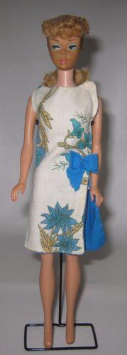 1960-039-s-Vintage-Mattel-5-Barbie-Doll-Blonde-Hair-in-OOAK-Dress-BP30