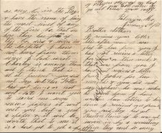 Civil War letter to Nathan King.  Page 4 is on the left and page 1 on the right.