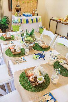 Linda decoraciones de cumpleaños para una fiesta Dinosaur Birthday Party, 4th Birthday Parties, 3rd Birthday, Birthday Ideas, Elmo Party, Mickey Party, Dinosaur Party Favors, Summer Birthday, Party Party