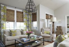 Tracery Interiors (Ceiling height drapes, textured, natural material shades, white trim, light,neutral upholstery....