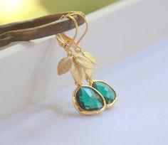 Emerald Green Teardrop and Gold Leaf Dangle Earrings. $32.00, via Etsy.