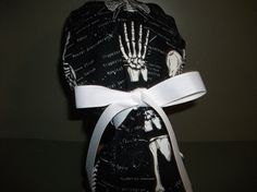Can I have this please?? Love love love. Glow in the dark skeleton ponytail scrub cap by scrubcaps on Etsy
