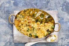 Spruitjesgratin met zoete aardappel 20 min oven 10 min bereiden 665 kcal 64kh