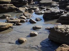 Rock structures at low tide - Bexhill Beach