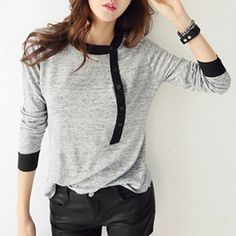 Stylish Round Neck Long Sleeves T-Shirt For Women