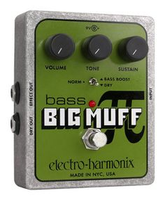 Electro-Harmonix Bass Big Muff Pi Distortion Pedal - Specifically voiced for bass, this go-to distortion pedal delivers classic fuzz without losing any low end. Wet and dry outputs give you extra flexibility.