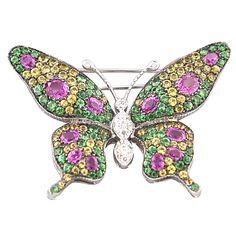 Contemporary White Gold Butterfly Pin