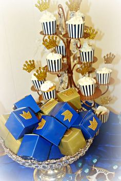 Blue and gold favors at a prince baby shower party! See more party ideas at CatchMyParty.com!