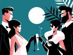 Buy Stylish Forties Concept Party by on GraphicRiver. Fashion man and woman in stylish clothes with glasses of champagne. People Illustration, Flat Illustration, Illustration Fashion, Illustrations, Party Characters, Modern Graphic Design, Icon Design, Design Art, Art Reference