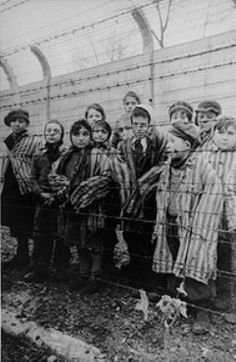 Picture of Jewish children posing behind barbed wire at Auschwitz after liberation.